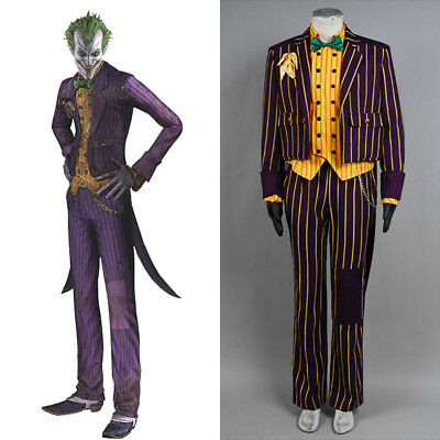 Batman Cosplay Arkham Asylum Joker Cosplay Costume Coat Suit Halloween Costume