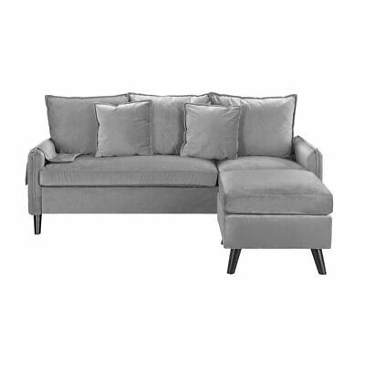 Classic Velvet Sectional Sofa L-Shape Couch Armrest Pocket Grey Sofa Small Couch