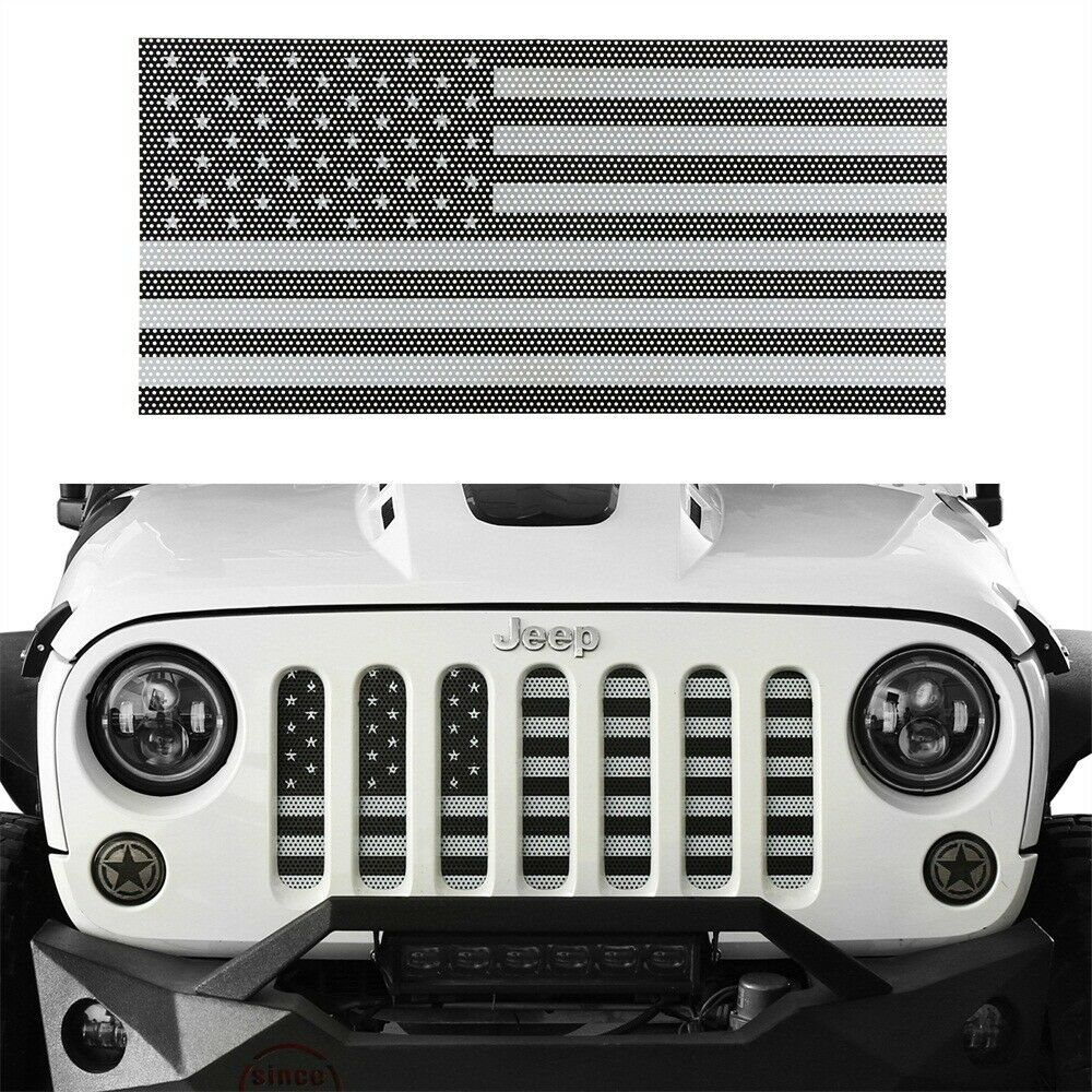 e1a55a48 Grill Insert American Flag Grille Screen for 07-18 Jeep Wrangler JK (Black&White)