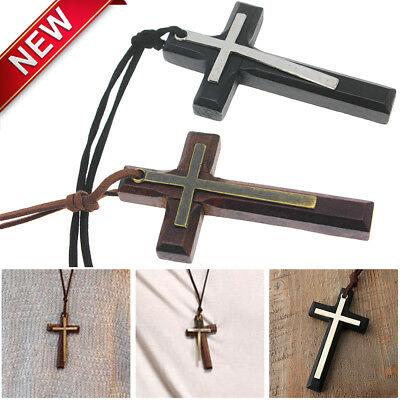 Black Leather Cross Necklace - 1PCS Leather Brown/Black Wooden Cross Pendant String Rope Necklace For Woman Men