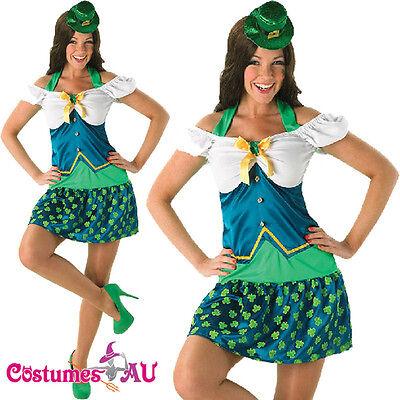 Ladies Leprechaun St Patricks Day Costume Green Sexy Irish Lady Fancy Dress Hat