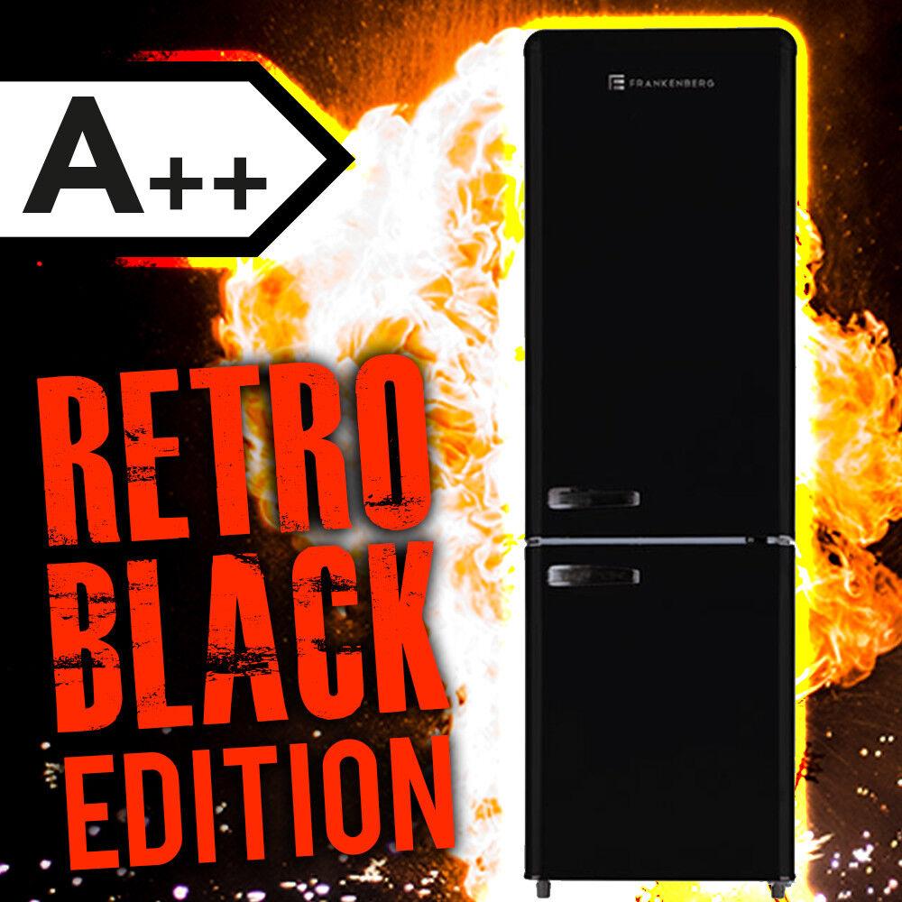 Gefrierkombination A++ Retrolook Kombi Kühlschrank Standkühlschrank Schwarz WOW
