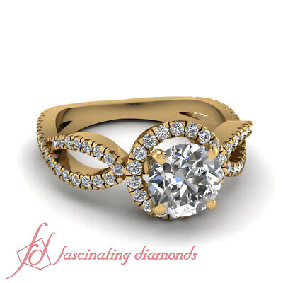 Round Cut Untreated Diamond Interlace Halo Engagement Rings Pave Set 1.15 Ct GIA