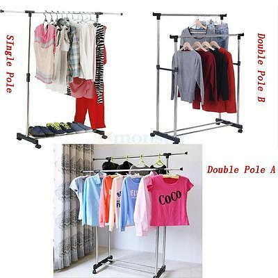 Singledouble Adjustable Portable Clothes Hanger Rolling Garment Rack Duty Rail