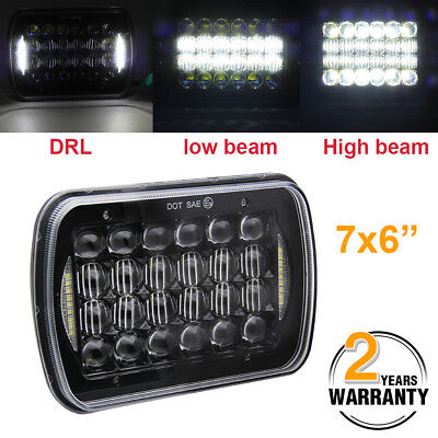 "7x6"" 5D CREE LED Headlight Halo DRL For 86-95 Jeep Wrangler YJ 84-01 Cherokee XJ"
