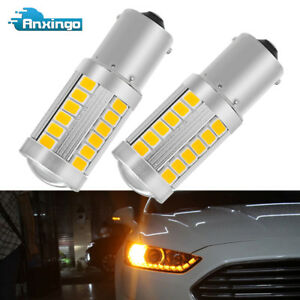 Amber Yellow 33S-MD LED BAU15S 7507 LED Bulb Car Turn Signal Lights for Honda 2x