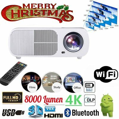 8000 Lumens Projector FHD Android 7.1 3D WIFI TV Smart LED LCD Home Projector UK