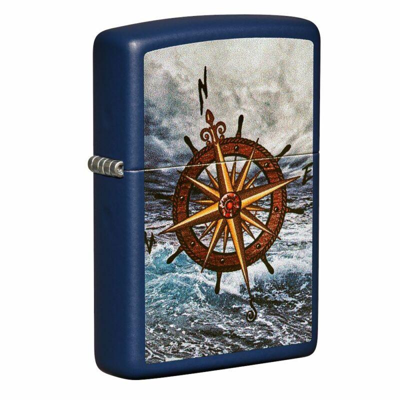 Zippo Compass Design Navy Matte Pokcet Lighter, 49408