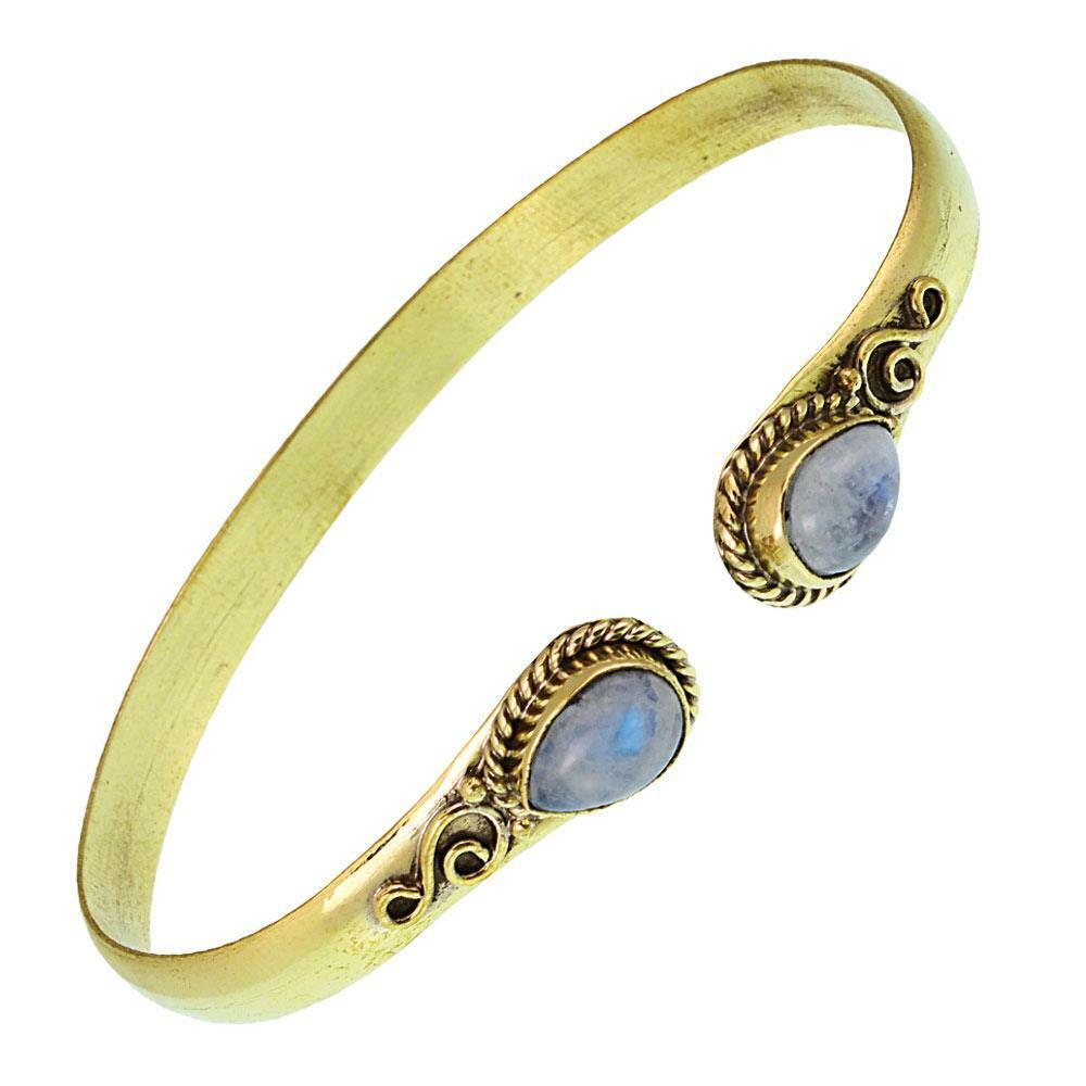 Messing Armreif golden Lapis blau Spirale Tropfen Flechtrand nickelfrei verstell
