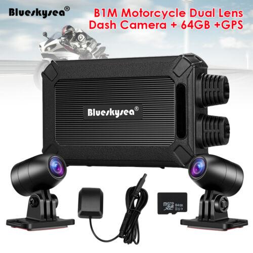 Blueskysea B1M Front + Rear 1080P 30FPS Motorbike Wifi Dash Cam DVR +GPS +64GB