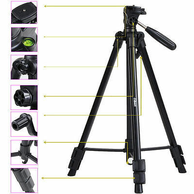 "63"" Tripod Stand For Video Camera DSLR Canon Nikon Sony+ Fluid Head Mount"