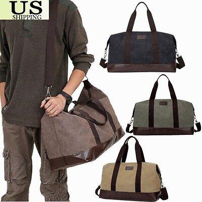 Vintage Men's Leather Canvas Travel Luggage Bag Weekend Lightweight Duffle Bag