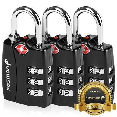 Fosmon 3x TSA Approve Luggage Lock [3 Digit Combination] Travel Suitcase Padlock
