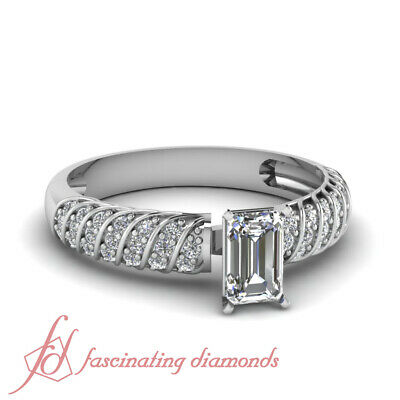 Rope Style Pave Set Engagement Ring 0.65 Ct Emerald Cut Diamond GIA Certified