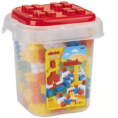 Eimer mit 100 Kinder-Baby Bausteine Bauklötze Spielzeug Steckbausteine Bauplatte