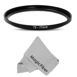 72-77mm Step-Up Metal Adapter Ring ( 72mm Lens to 77 mm Accessory ) + MagicFiber