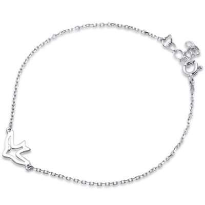 "Plain Bird Peace Jesus Love .925 Sterling Silver Bracelet 6""+1"" Extension"