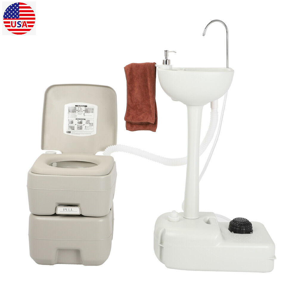 Portable Camping Toilet Flush Potty With Hand Wash Sink Basin Stand Outdoor 20L