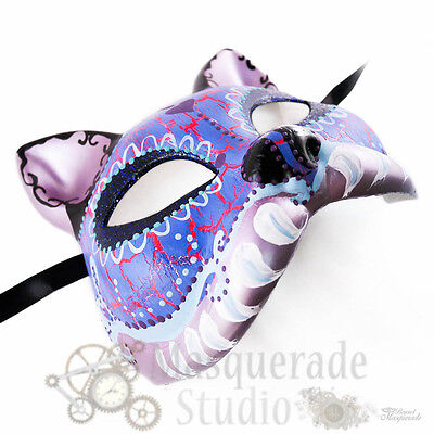 Womens Day of the Dead Cat Costume Theater Halloween Masquerade Mask [Purple]