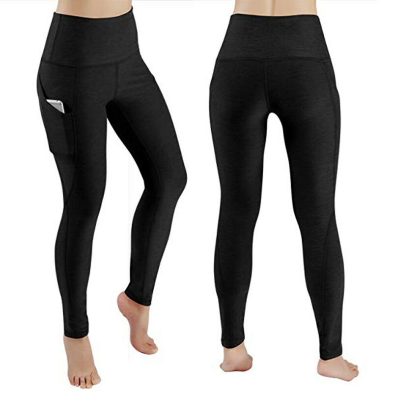 Women High Waist Yoga Leggings Pocket Pants Fitness Sport Gym Workout Athletic G 5