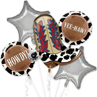 Cowboy Yeehaw Balloon Bouquet Western Party Decoration Supplies Wild Boot - Western Party Decor