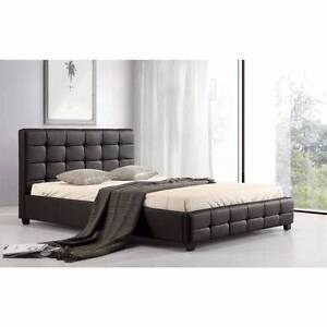 Modern design black color pu leather queen size bed + mattress,ca Box Hill Whitehorse Area Preview