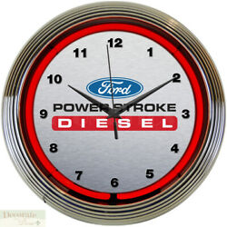 FORD DIESEL POWER STROKE TRUCK 15 Neon Wall Clock Glass Face Chrome Plate New