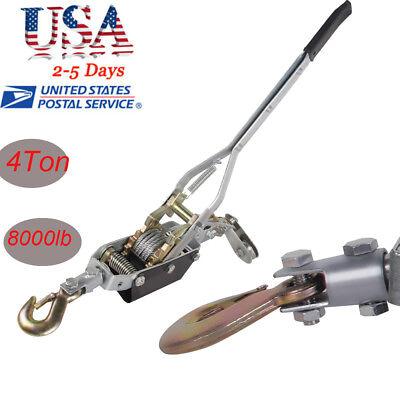 4t 8000lb Come Along Hoist Ratcheting Cable Hand Winch Puller Crane Comealong