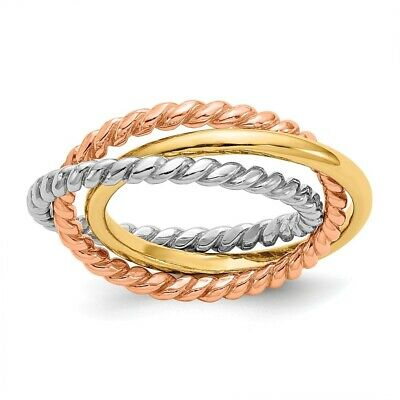 Genuine 14k Two Tone Gold Tri-Color Rope 3-band Interlocking Ring  4.64 gr