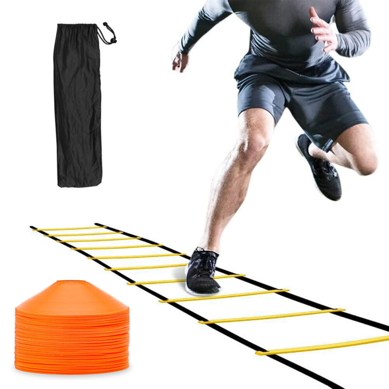 Speed Agility Ladder Training 8 Rung Footwork Exercise + 25 Speed Disc Cones