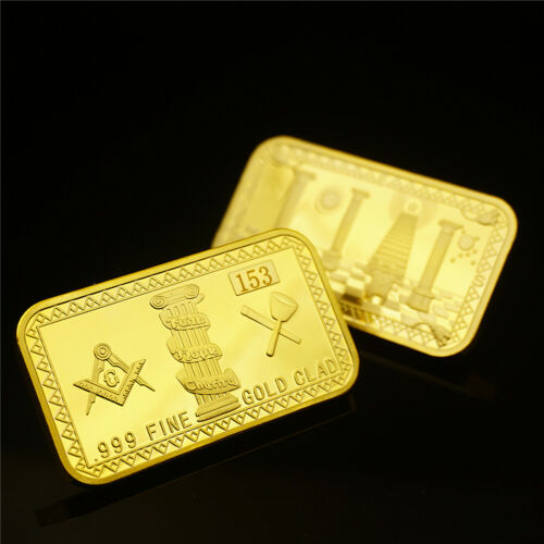 EU Masonic Freemason God Eye lucky Commemorative GOLD Coin Square Ingot Bar US