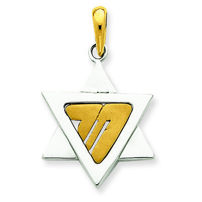 14K Two-Tone Gold Fancy Star of David and Chai Charm Pendant MSRP $522