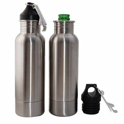 - 12oz Stainless Steel Insulated Beer Bottle Holder Koozie with Opener - 2 pack