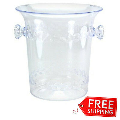 Ice Bucket 4 Quart Clear Plastic Wine Champagne Bottles Round Handles - Clear Bucket