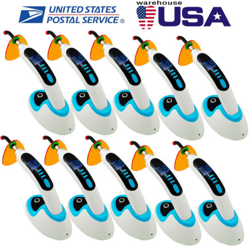 USA! Cordless 10 × CL8 LED Dental Curing Light Lamp 10W 2000MW Teeth Whitening
