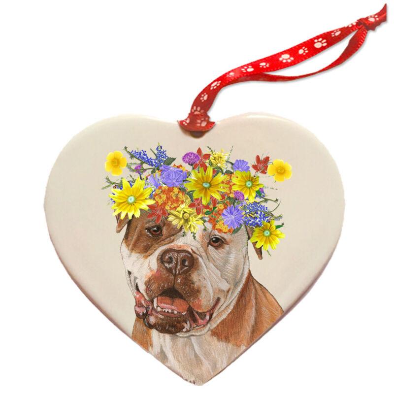 American Bulldog Porcelain Floral Heart Shaped Ornament Décor Pet Gift