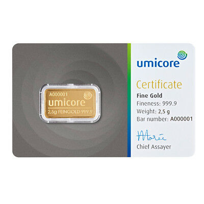 2,5 Gramm Goldbarren Gold 999,9 Feingold Barren Umicore / Valcambi / PAMP
