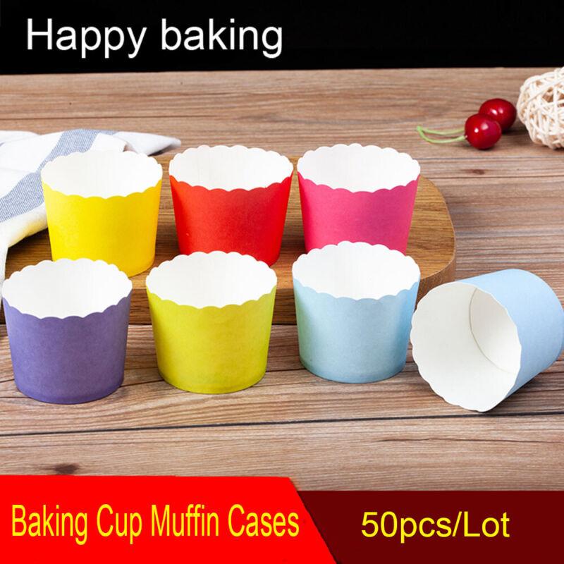 50Pcs//set Baking Cake Cups Paper Proveided Tulip Shape Cupcake DIY Baking Tool