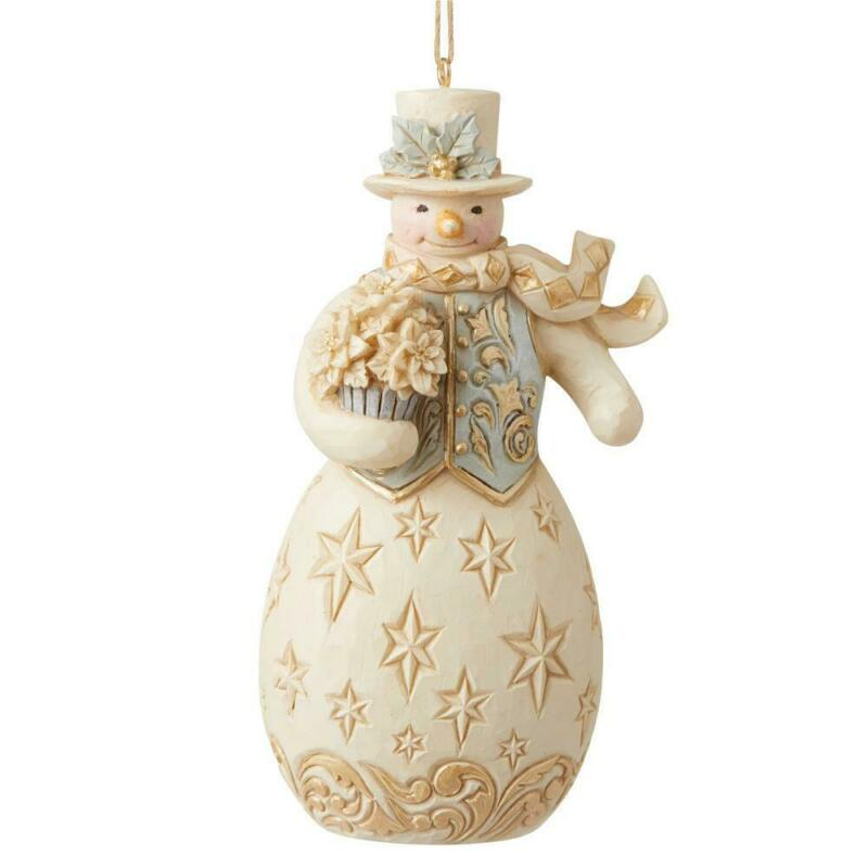 Jim Shore Heartwood Creek Holiday Lustre Snowman with Flowers Ornament 6009401