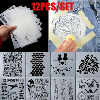 12pcs/set Scrapbooking Walls Painting Embossing Template Layering Stencils ()