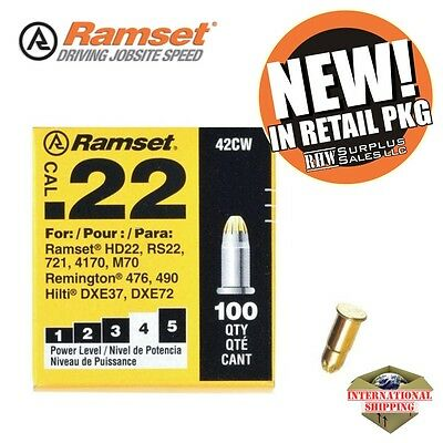 ITW Ramset 42CW Powder A Loads, For Powder Actuated Tools, Yellow, 22 Cal