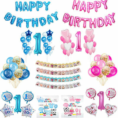 Baby Boy&Girl 1st Birthday Foil Latex Confetti Helium Balloons Bunting Banner - Baby Boy Helium Balloons