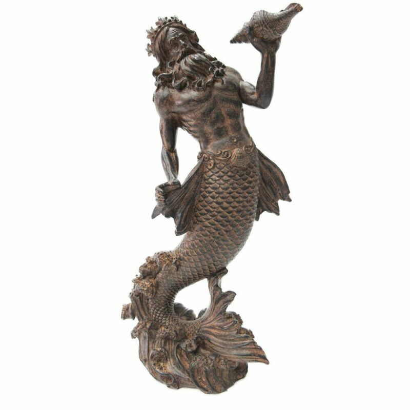 Greek God of the Sea: Poseidon Neptune holding Conch Rising from the Sea Statue