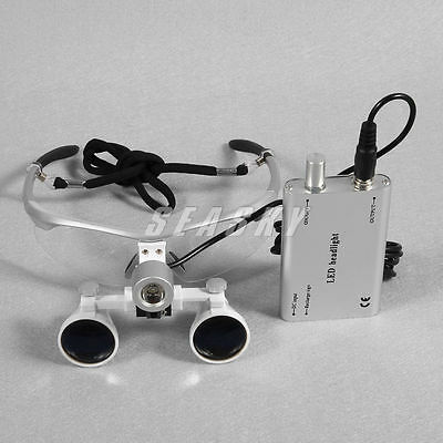 Led Head Light Lamp Dental Surgical Medical Binocular Loupes 3.5x420mm Ss