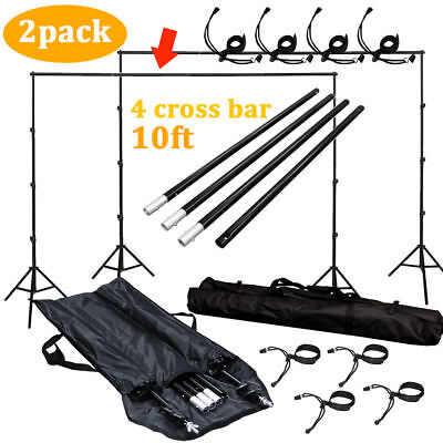 2x 10Ft Adjustable Background Support Stand Photo Backdrop 4Crossbar Kit