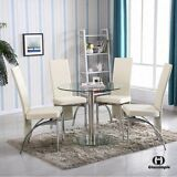 5 Piece Dining Table Set 4 Chairs Kitchen Room Round Glass Breakfast Furniture
