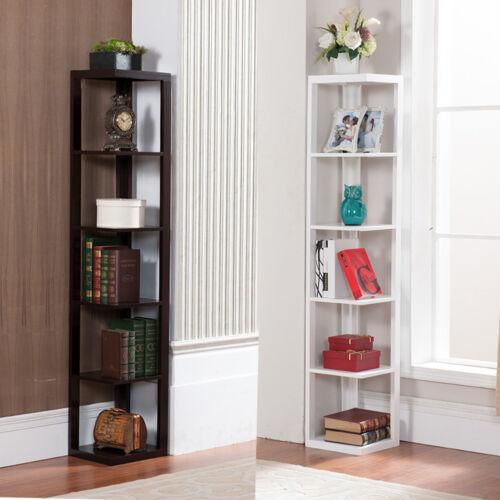5 Tier Wall Corner Bookshelf Rack Storage Display Shelves