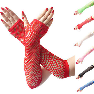 Ladies Girls Neon Sexy Long Fingerless Fishnet Lace High Elasticity Gloves
