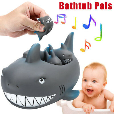 Shrilling Rubber Cute Shark Family Bathtub Pals Floating Bath Tub Toys Funny