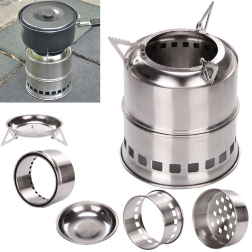 Portable Outdoor Stove Camping Cooking Picnic BBQ Steel Wood Cooker UK